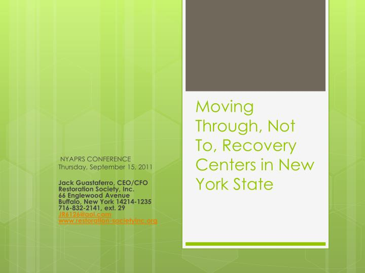 moving through not to recovery centers in new york state n.