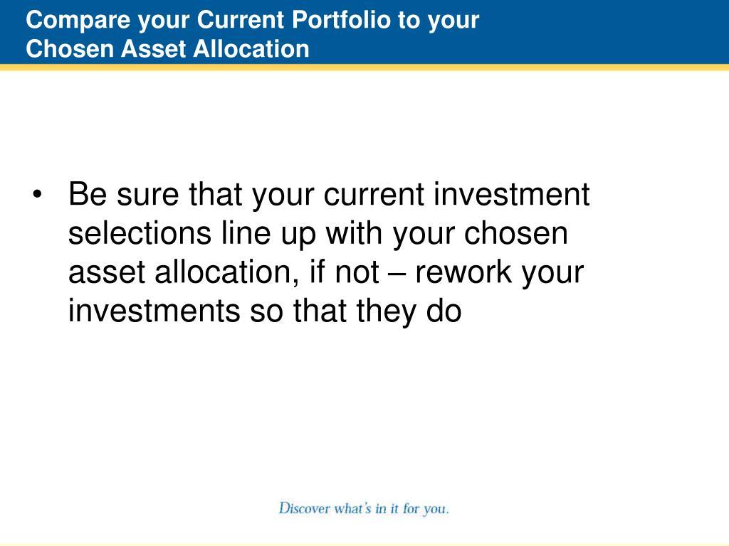 Compare your Current Portfolio to your Chosen Asset Allocation