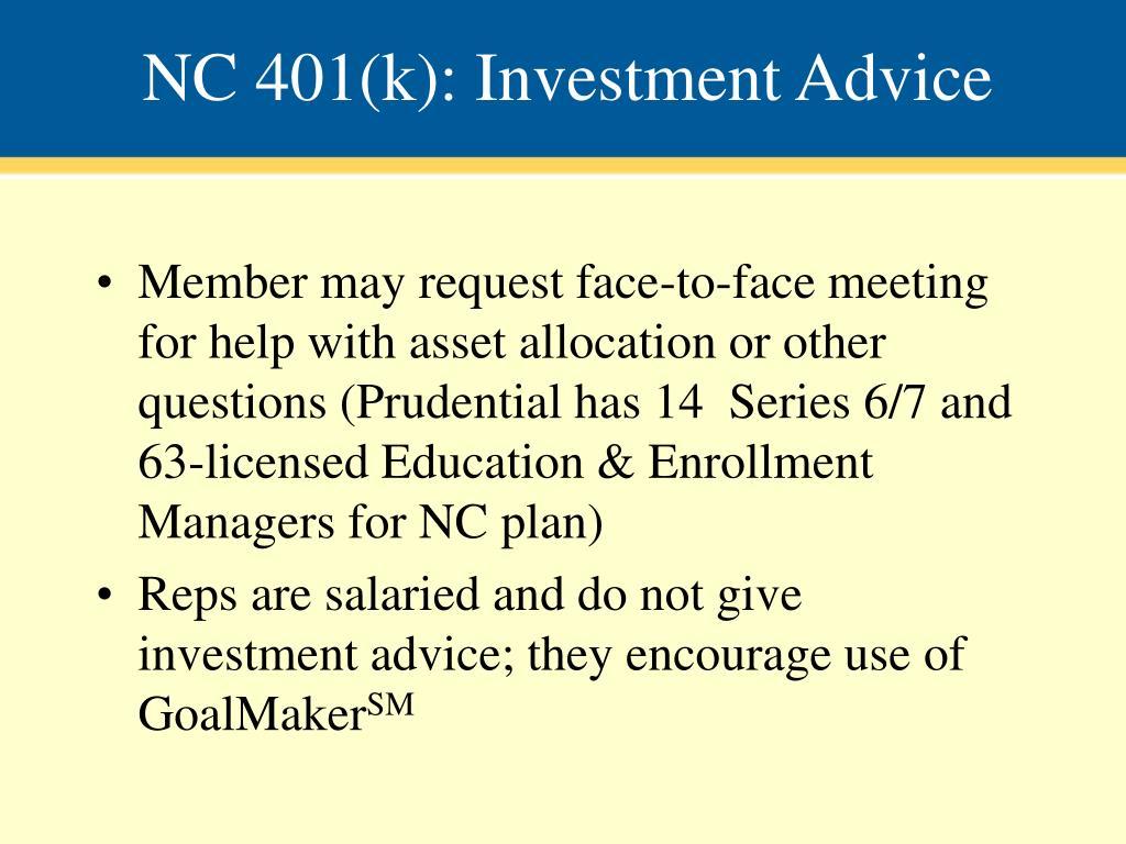 NC 401(k): Investment Advice