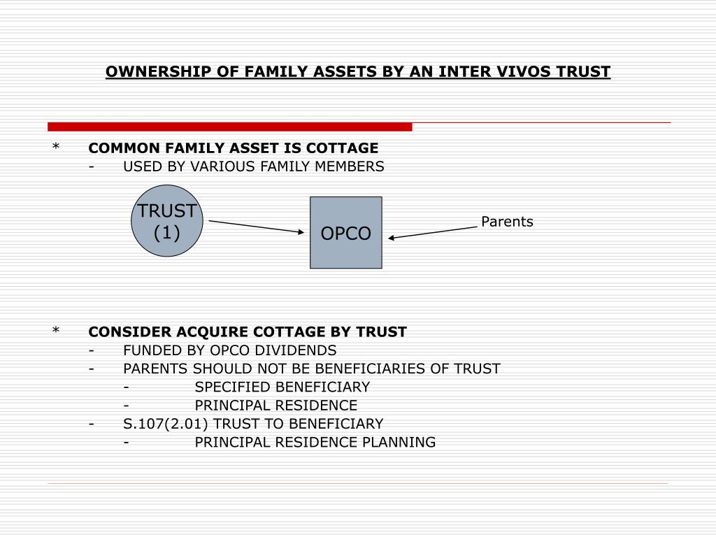 OWNERSHIP OF FAMILY ASSETS BY AN INTER VIVOS TRUST