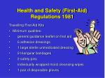 health and safety first aid regulations 19811