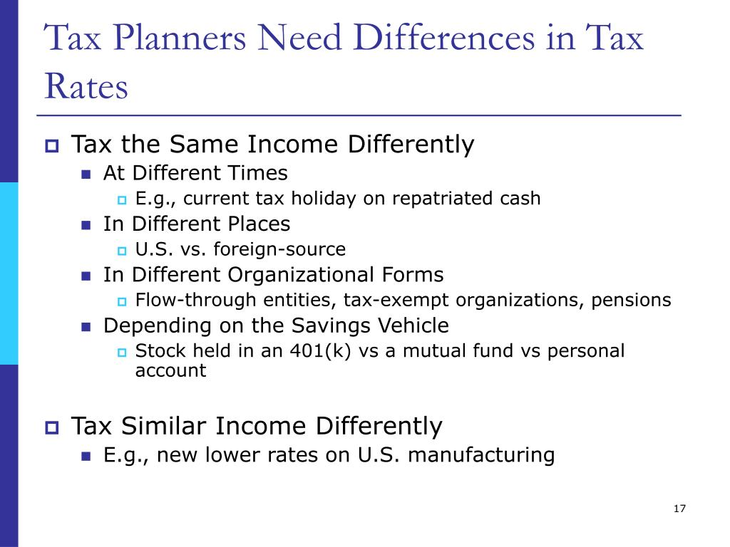 Tax Planners Need Differences in Tax Rates
