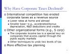 why have corporate taxes declined