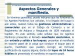 aspectos generales y manifiesto