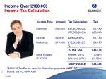 income over 100 000 income tax calculation