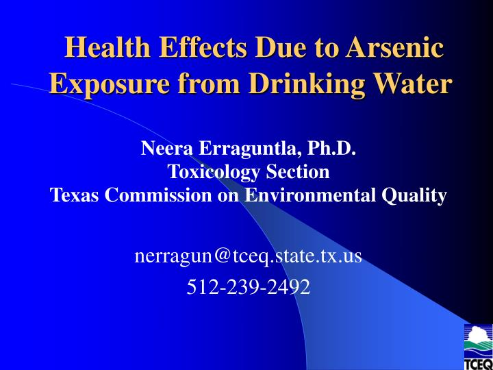 health effects due to arsenic exposure from drinking water n.