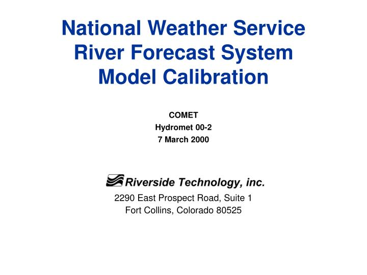 national weather service river forecast system model calibration n.
