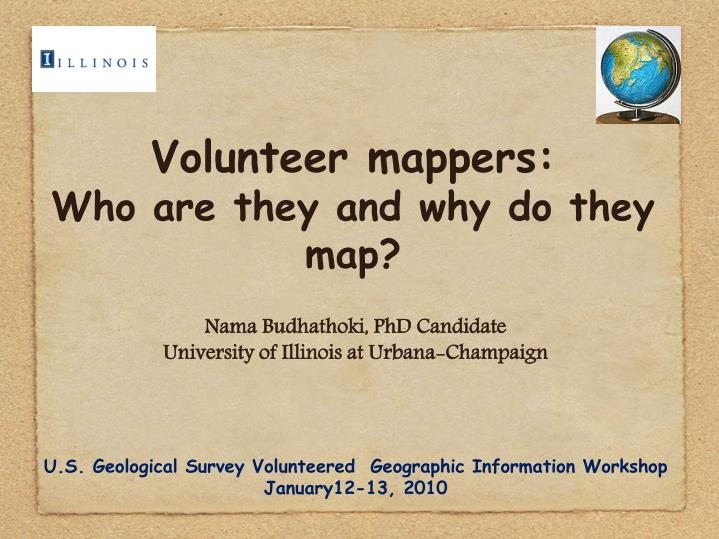 volunteer mappers who are they and why do they map n.