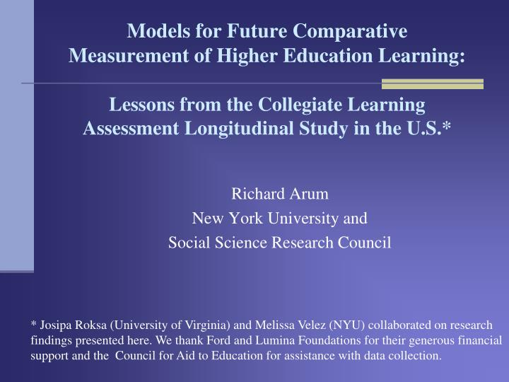 richard arum new york university and social science research council n.