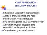 cwip application selection process