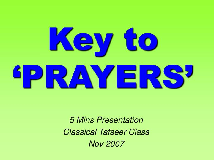 key to prayers n.