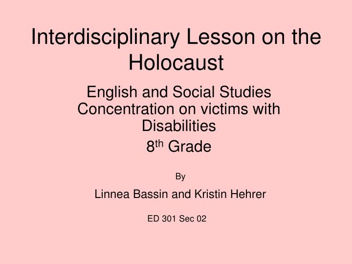 interdisciplinary lesson on the holocaust n.