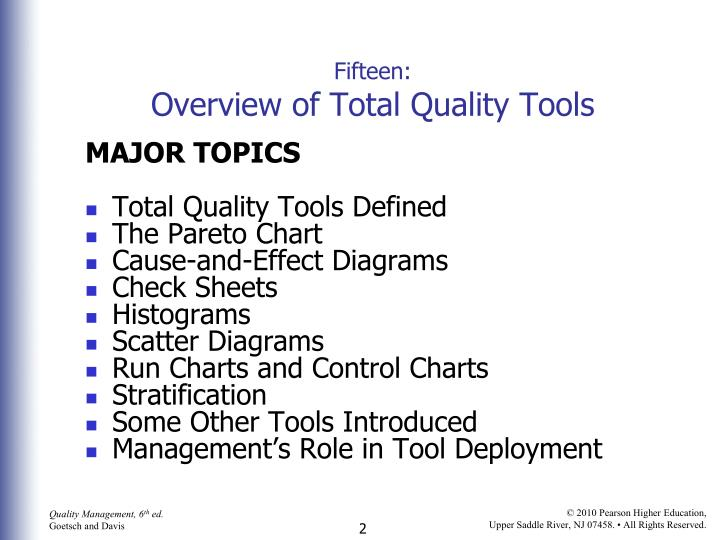 Fifteen overview of total quality tools