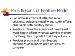 pros cons of feature model
