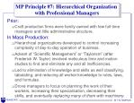 mp principle 7 hierarchical organization with professional managers