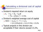calculating a divisional cost of capital