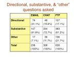 directional substantive other questions asked