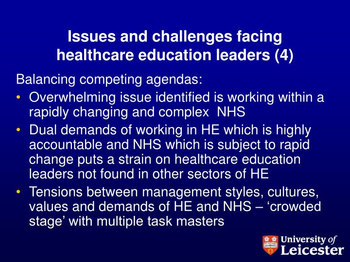 Issues and challenges facing healthcare education leaders (4)