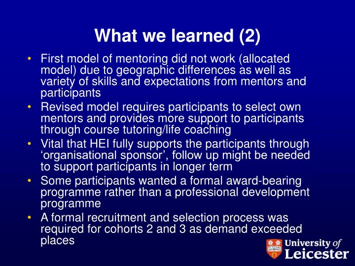 What we learned (2)