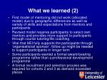 what we learned 2