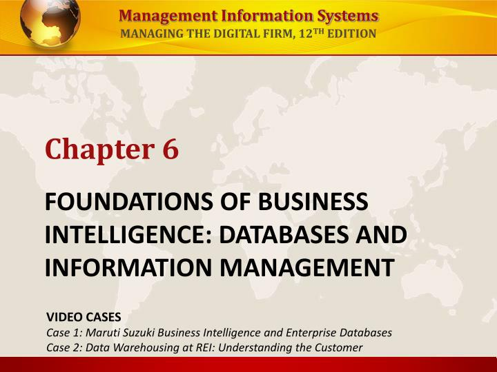 foundations of business intelligence databases and information management n.