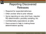 reporting discovered releases