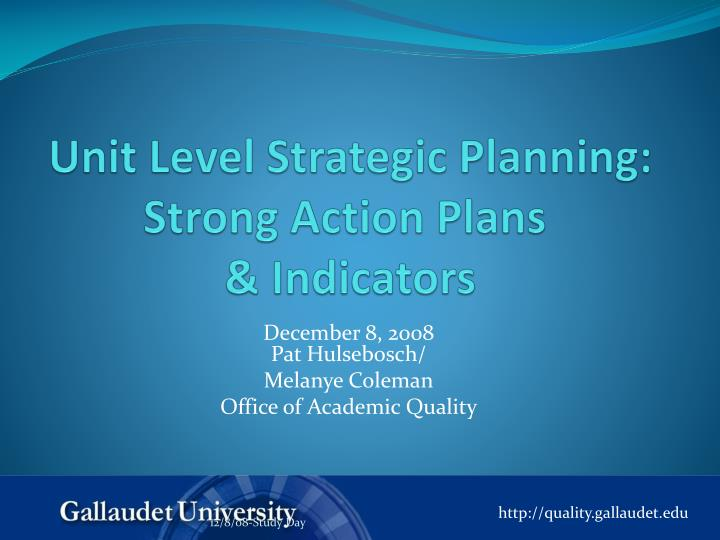 unit level strategic planning strong action plans indicators n.