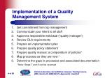 implementation of a quality management system