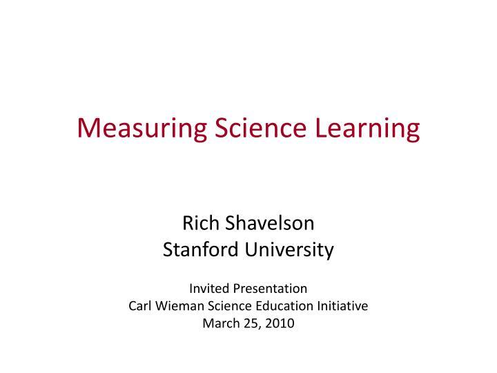 measuring science learning n.