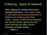 critiquing topics of research