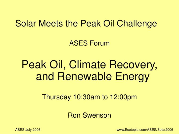 solar meets the peak oil challenge n.