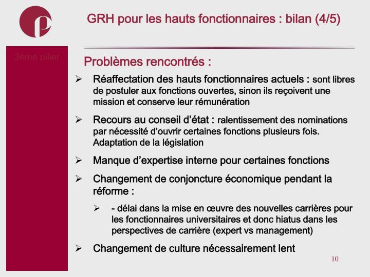 GRH pour les hauts fonctionnaires : bilan (4/5)
