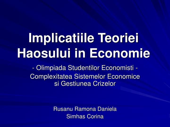 implicatiile teoriei haosului in economie n.