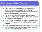 limitations of global strategy
