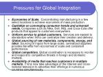 pressures for global integration
