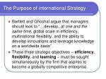 the purpose of international strategy