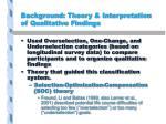 background theory interpretation of qualitative findings