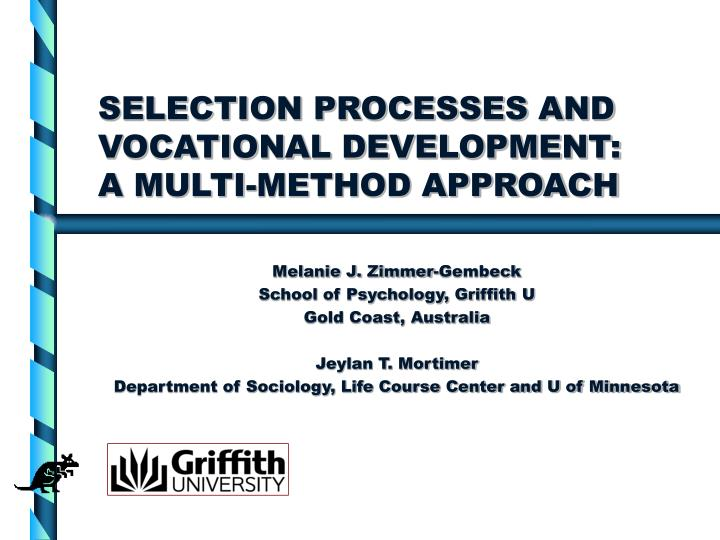 selection processes and vocational development a multi method approach n.