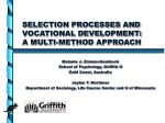 selection processes and vocational development a multi method approach