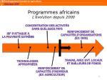 programmes africains l volution depuis 2000