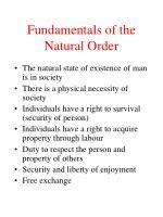 fundamentals of the natural order