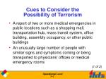 cues to consider the possibility of terrorism