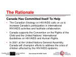 the rationale canada has committed itself to help