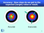 accuracy how close do we get to the expected target value or result