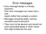 error messages