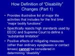 how definition of disability changes part 1