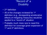 record of a disability