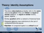 theory identity assumptions