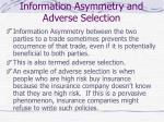 information asymmetry and adverse selection