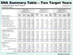 sna summary table two target years